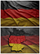 Germany flag and map collage