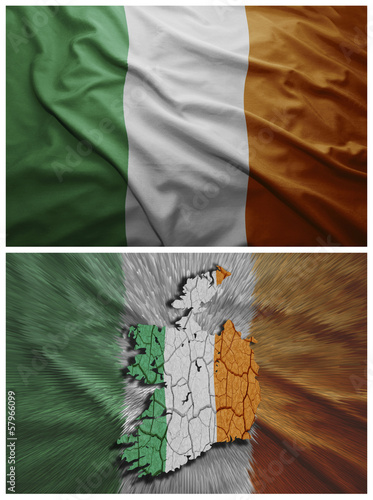 Ireland flag and map collage