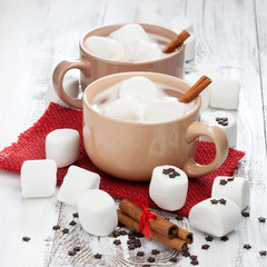 Cups of hot chocolate with marshmallows
