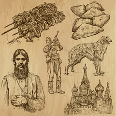 Traveling RUSSIA (set no.4) - Set of hand drawn illustrations.
