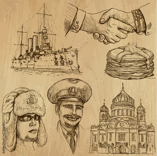 Traveling RUSSIA (set no.2) - Set of hand drawn illustrations.