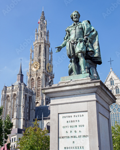 Antwerp - Statue of painter P. P. Rubens and tower of cathedral