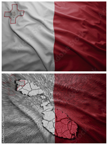 Malta flag and map collage