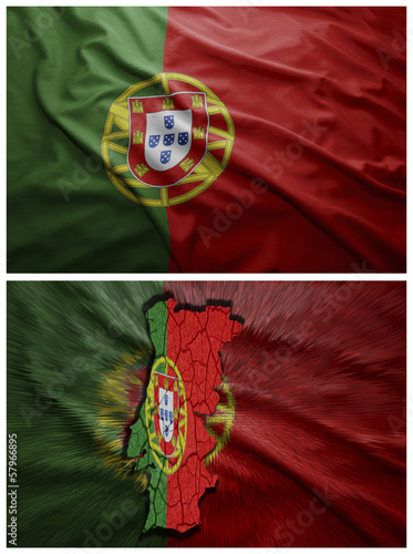 Portugal flag and map collage