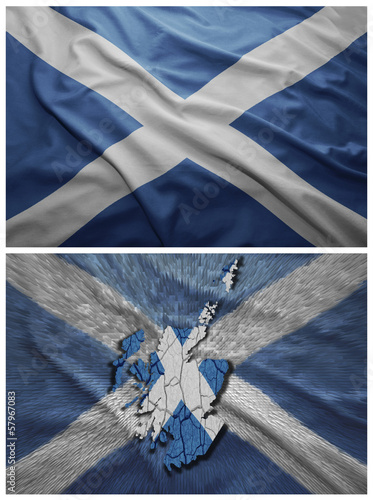 Scotland flag and map collage
