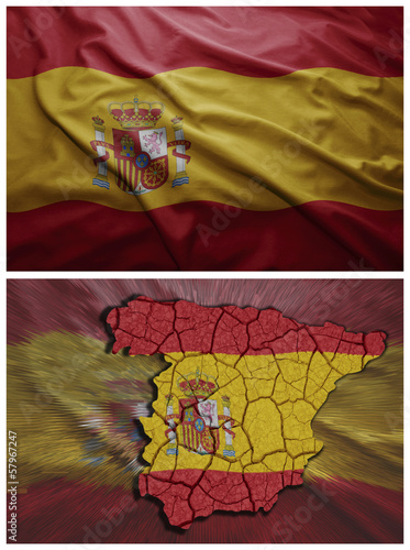 Spain flag and map collage