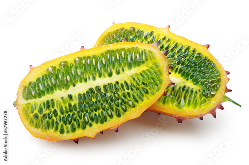 Two halves of fruit Kiwano