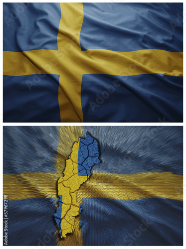 Sweden flag and map collage