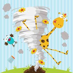 giraffe bird and tornado - vector illustration