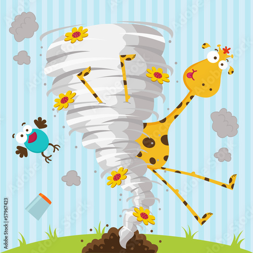 giraffe bird and tornado - vector illustration
