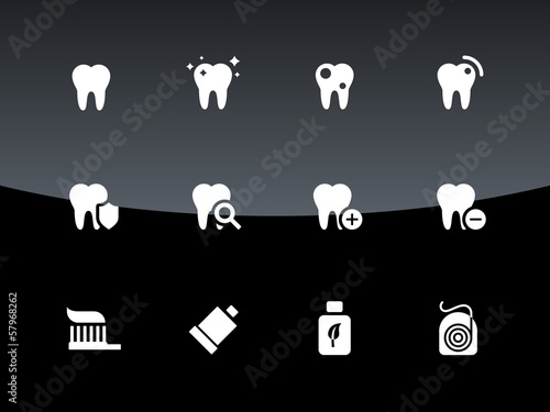 Tooth, teeth icons on black background.