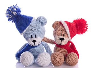teddy bear couple with scarf and cap