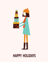 Girl with gift boxes. Vector