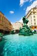Leinwanddruck Bild - Donnerbrunnen fountain and monuments