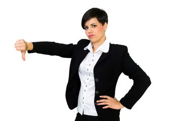 Beautiful business woman with thumbs down