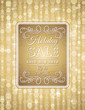 golden christmas background and label with sale offer, vector
