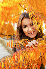 beautiful girl in autumn leaves