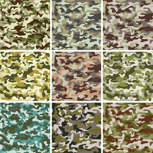 Fotobehang Kunstmatig Vector Set of Seamless Camouflage Pattern