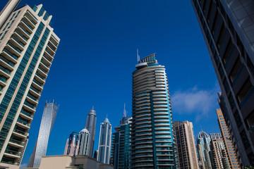 high building skyscraper, facade with balcony
