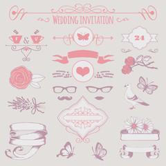 wedding invitation decorative elements, flowers,