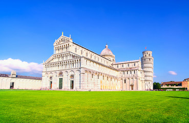 Pisa, Miracle Square. Cathedral Duomo and Leaning Tower of Pisa.