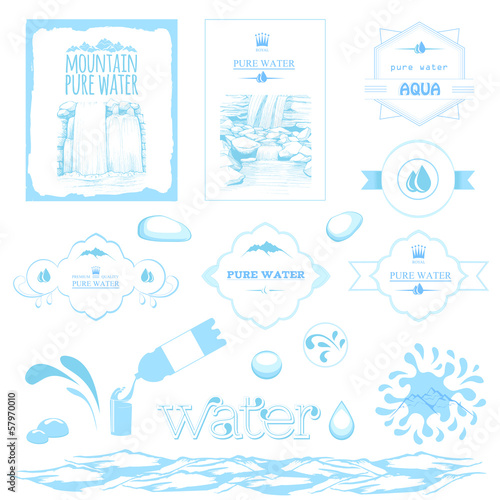 water labels, drops, splash, mountain and waterfall landscape