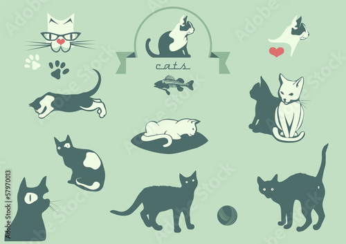 cats silhouettes, veterinary logo elements,