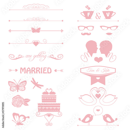 wedding invitation elements, cake, flowers, couple