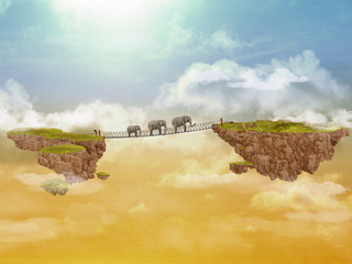Three elephants. Illustration.