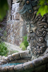 Fountain in shape of Zeus head outdoor