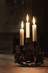 glowing candles with beautiful candlelight