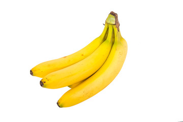 Small Bunch of Bananas Isolated on White