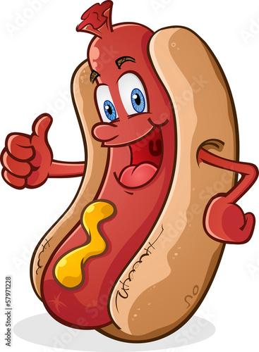 Fototapeta Hot Dog Thumbs Up Cartoon Character