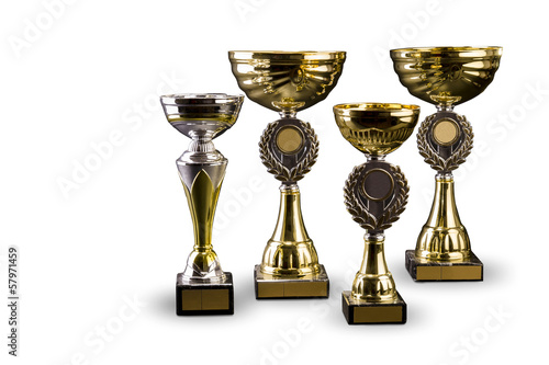 Trophy cup - isolated on white