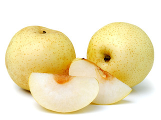snow pear on white background