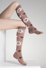 woman legs in winter socks