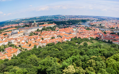 Ñityscape of Prague city. Panoramic view