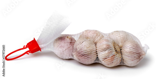 packaged garlic isolated on white