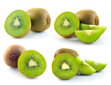 Kiwi fruit sliced segments isolated on white background
