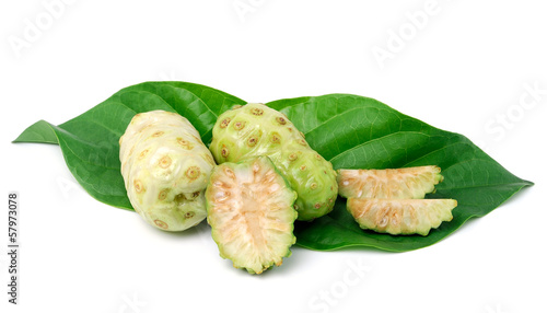 Exotic Fruit - Noni with  leaf on white background