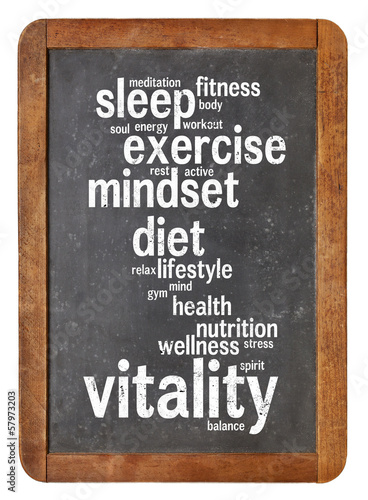 canvas print picture vitality  word cloud on blackboard