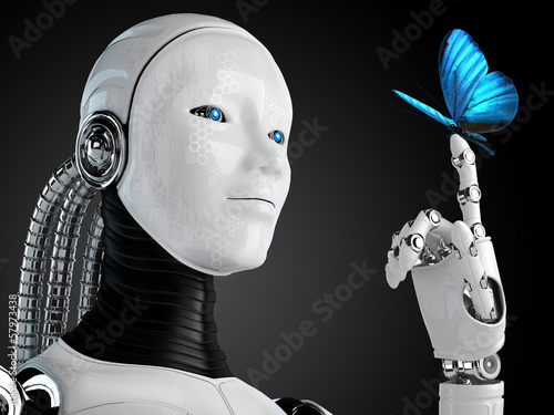 robot android women and butterfly