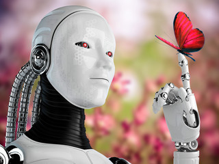 robot android women and butterfly in nature