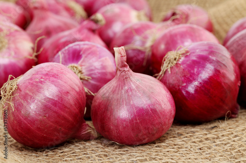 Closeup of red large onion on sacking