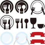 Fototapety 皿やナイフ、フォークのアイコン