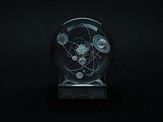 Glass items with volumetric laser engraving.