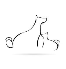 Vector of stylized cat and dog silhouettes logo
