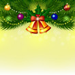 Vector background with Christmas tree, bells and balls