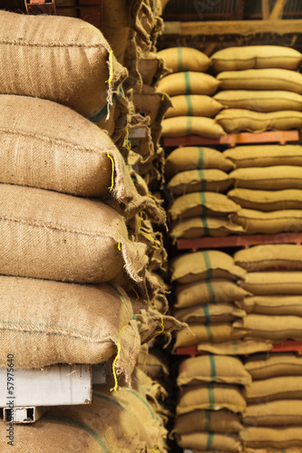 Stack hemp sacks of rice