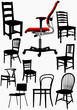 Big collection of home and office chair silhouettes. Vector illu
